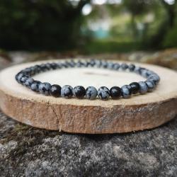 Bracelet 4mm, obsidienne neige