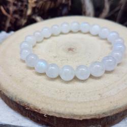 Bracelet labradorite blanche (péristérite) vue latérale