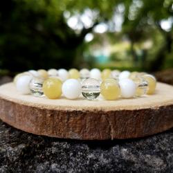 Bracelet solaire 8mm, opale jaune, jade blanc et cristal de roche