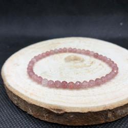 Bracelet facetté quartz fraise