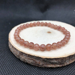 Bracelet 6mm quartz fraise