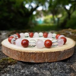 Bracelet 8mm, jaspe rouge, quartz rose et cristal de roche